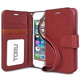 iPhone5s ケース [TORU] iPhone5 ケース [Prestizio] [手帳型] [スタンド] [カードホルダー] [プレミアム合皮レザー] [フリップケース] アイフォン5/5s/SE用ストラップ付きカバー[バーガンディー]
