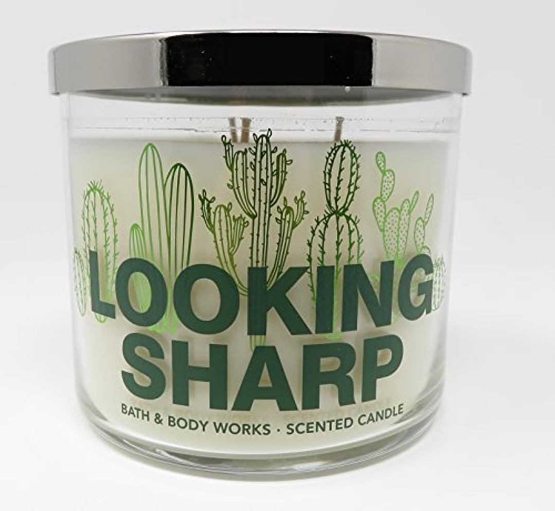 予報バッフル肌寒いBath & Body Works Candle 3 Wick 14.5オンスLooking Sharp香りCactus Blossom