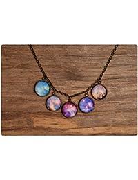 銀河のネックレス、銀や真鍮のネックレス、惑星のネックレス、宇宙のネックレス、銀河のペンダント、ガラスのネックレス、ガラスドームのネックレス