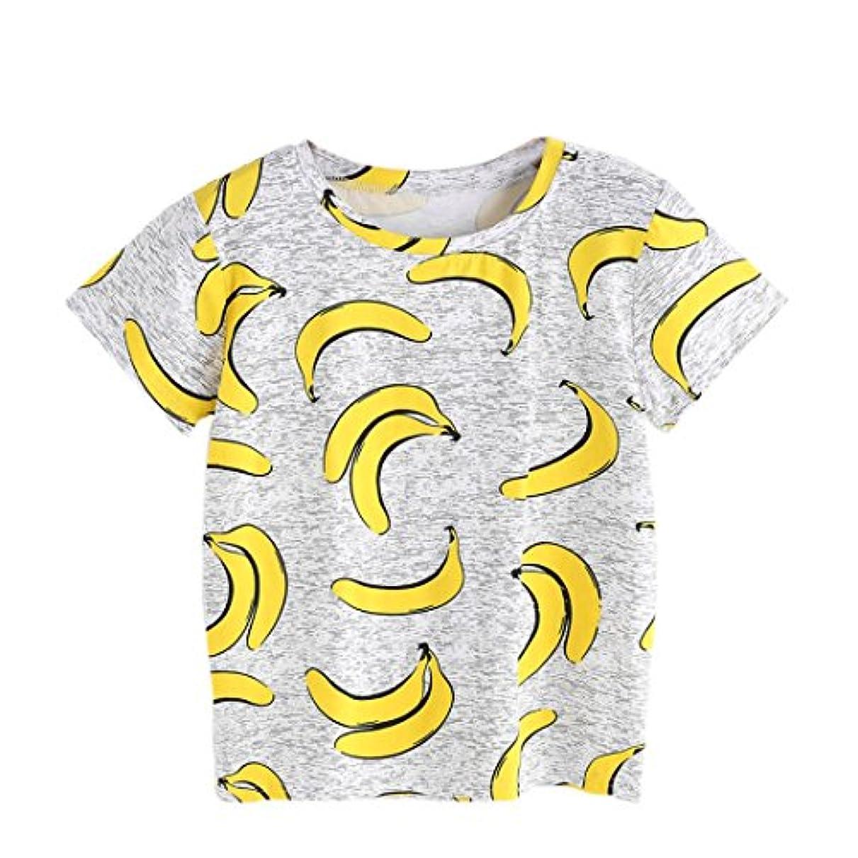 厳しいマニアック見せますzty66レディース夏半袖ブルーTシャツトップス、バナナプリント
