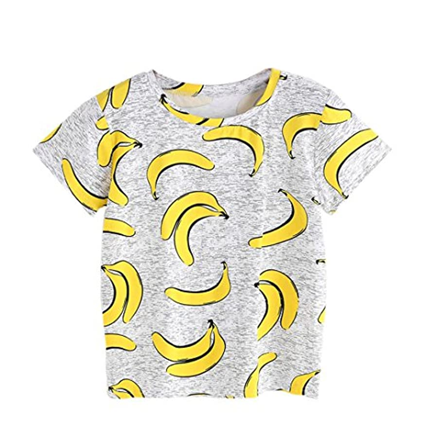 アイデアラップトップ符号zty66レディース夏半袖ブルーTシャツトップス、バナナプリント