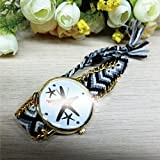 【ノーブランド品】腕時計 時計 ウォッチ ミサンガ スターフェイス ジュエリー アクセサリー BK