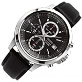 セイコー Seiko SKS445P2 Chronograph Black Dial Black Leather Band Mens Quartz Watch 男性 メンズ 腕時計 【並行輸入品】