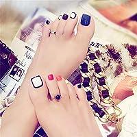 偽人工爪、 24本の偽爪、短い、糊付き、ネイルアート装飾用