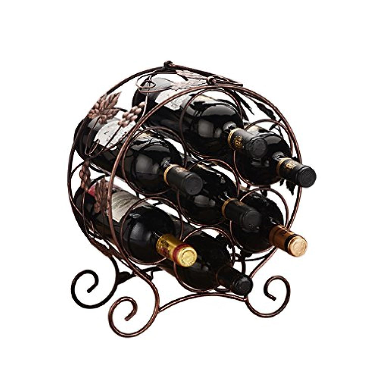 ワインラック7本用フリースタンディングメタルポータブルカウンターワインボトルホルダーStackable Minimalistic Design (色 : #1)