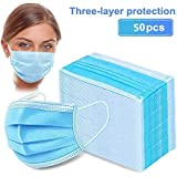 50pcs Disposable Earloop Face Mask,Breathable Non-Woven Dust Filter Face Mask, Breathable and Comfortable for Dust, Pollen Al