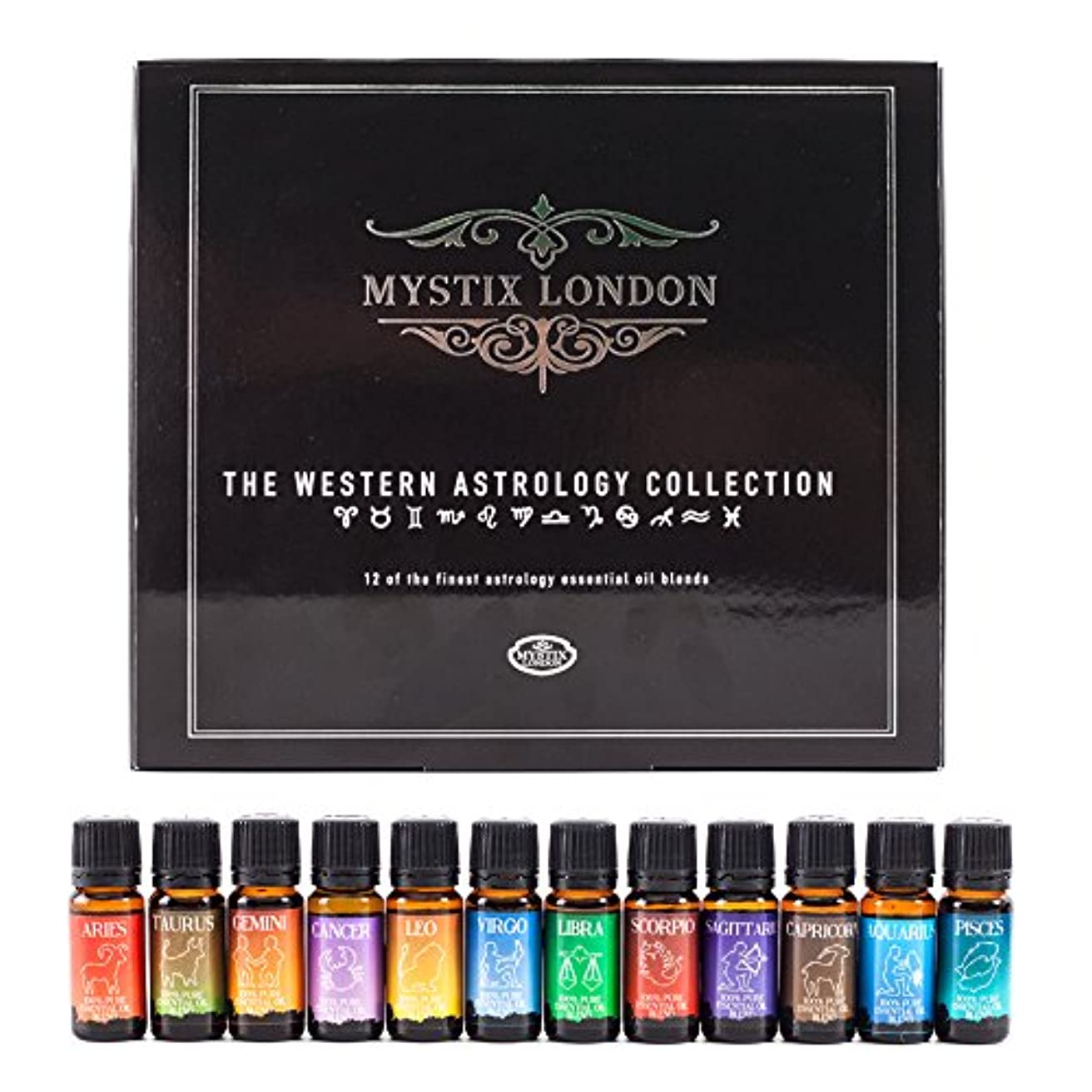 受賞マージンフットボールMystix London | The Western Astrology Collection 12 x 10ml 100% Pure Essential Oil Blends