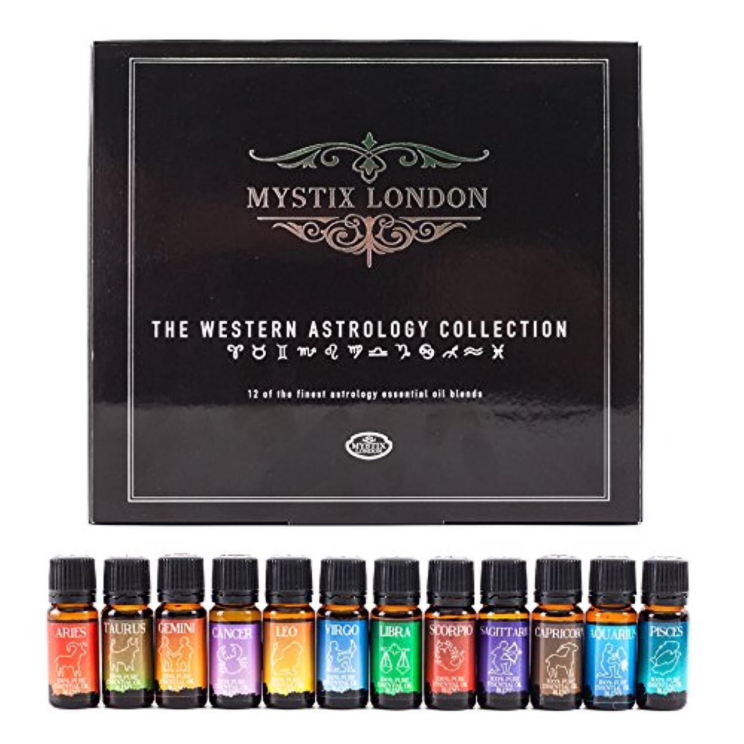 学部死すべきインサートMystix London | The Western Astrology Collection 12 x 10ml 100% Pure Essential Oil Blends