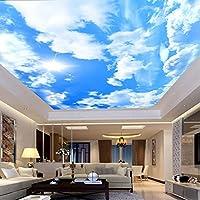 Mingld 注文の大きい天井の壁画の壁紙現代の簡単で青い空と白い雲のフレスコ画の居間ホテルの壁紙-200X140Cm