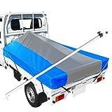軽トラック 荷台シート 前部2.0×後部1.8m×長さ2.2m シルバー/ブルー ※アルミ製荷台フレームセット