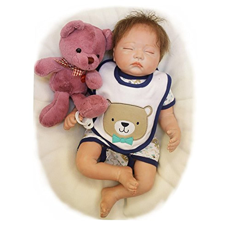 Pursue Baby Lifelike Reborn Babyアジア人形、かわいいBear Ming、20インチリアルなWeighted新生児幼児ソフトビニール人形Poseable withおしゃぶり
