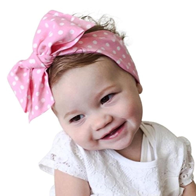 GODTOON ベビー ヘアバンド 赤ちゃん 配送無料 キッズ コットン リボン ヘアアクセサリー 髪飾り 髪留め カチューシャ 花 かわいい 出産祝い 誕生日 プレゼント (ピンク)