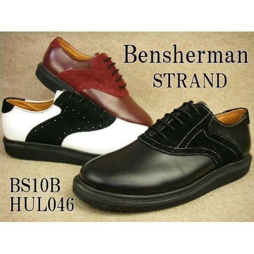 [ベンシャーマン] Bensherman STRAND BS10B-HUL04 ストランド メンズ プレーントゥ メダリオン 05(BLACK/BLACK) 28cm
