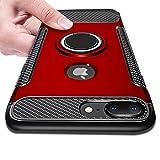 iPhone8 Plus ケース iPhone7 Plus ケース リング付き 耐衝撃 TPU クリア 車載対応ホルダー対応 軽量 薄型 指紋防止 全面保護 スクラブ 磁気 カーマウントホルダー 薄くて軽い 擦り傷防止 クリア 取り出し易い 超耐久 スクラッチ防止 着脱しやす 高級感 [赤]KC-1-45