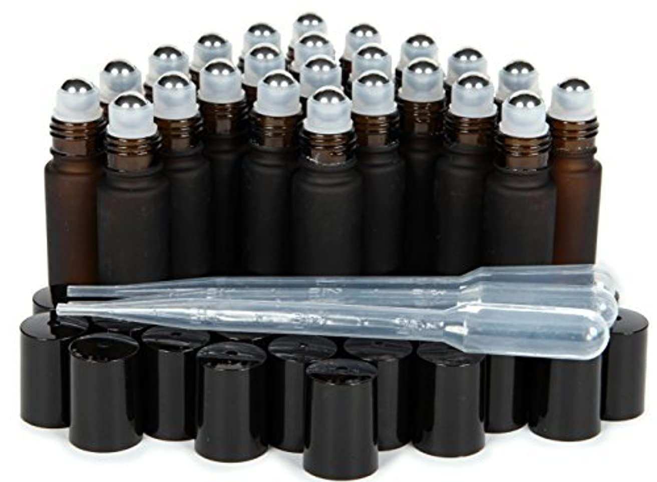 意味区別ライトニングVivaplex, 24, Frosted Amber, 10 ml Glass Roll-on Bottles with Stainless Steel Roller Balls. 3-3 ml Droppers included...