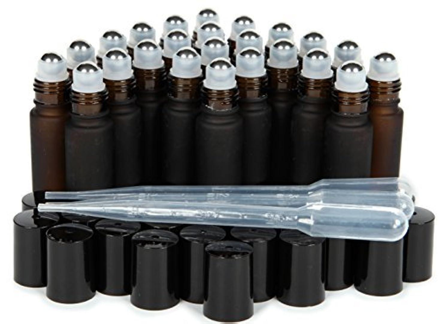 温度計コーナー先史時代のVivaplex, 24, Frosted Amber, 10 ml Glass Roll-on Bottles with Stainless Steel Roller Balls. 3-3 ml Droppers included...