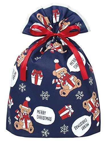 インディゴ クリスマス ラッピング袋 グリーティングバッグLL ギフトベア ネイビー XG157