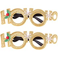Amosfun 2Pcs Christmas No Lens Glasses Letter Hoho Glasses Party Eyewear Photo Booth for Adults Kids