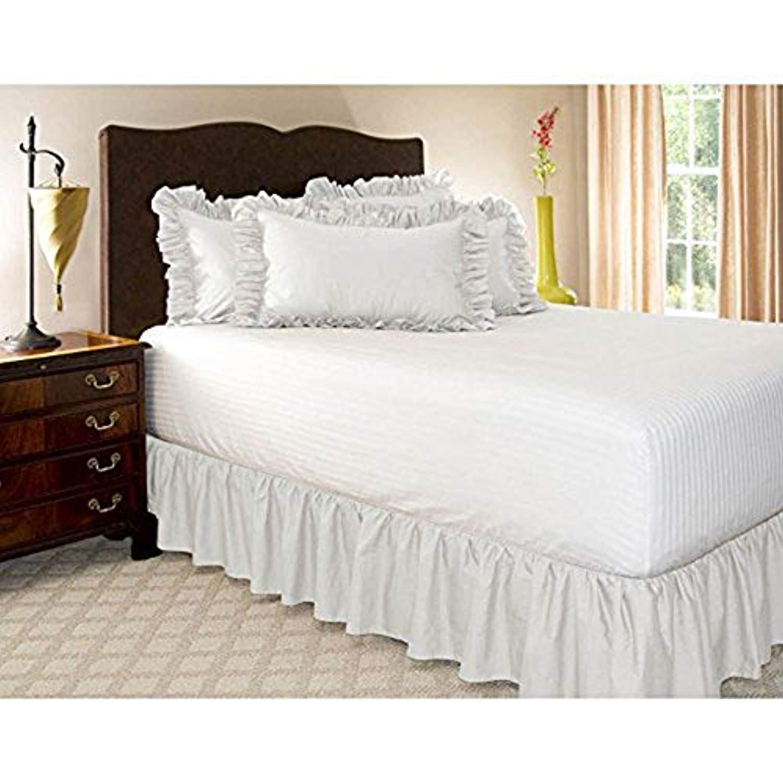 DEWEL ベッドスカート ラップアラウンドスタイル 簡単フィット 伸縮ベッドラッフル 伸縮性フリル付ベッドスカート ツイン/クイーン/キングサイズベッド用 (ダブル, 1)