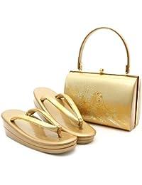(キステ) Kisste 草履バッグセット 礼装用 フリーサイズ 螺鈿入り金彩加工 エナメル <ゴールド/鼓> 7-4-10219
