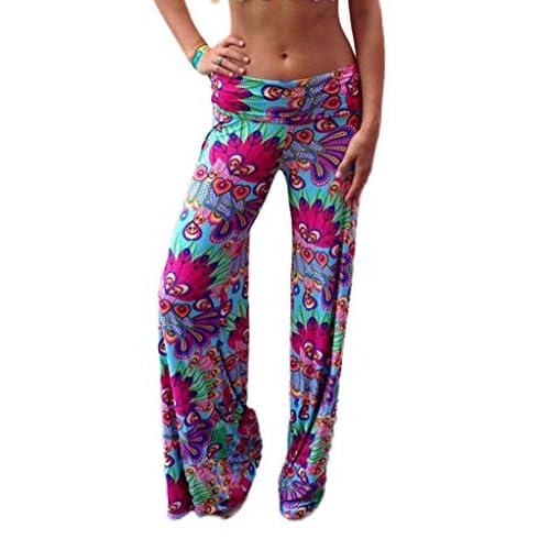 (ビグッド)Bigood バギー パンツ ボトムス ガウチョパンツ レディース ズボン ワイドパンツ ロングパンツ ヨガウェア ゆったり 花柄 カジュアル S