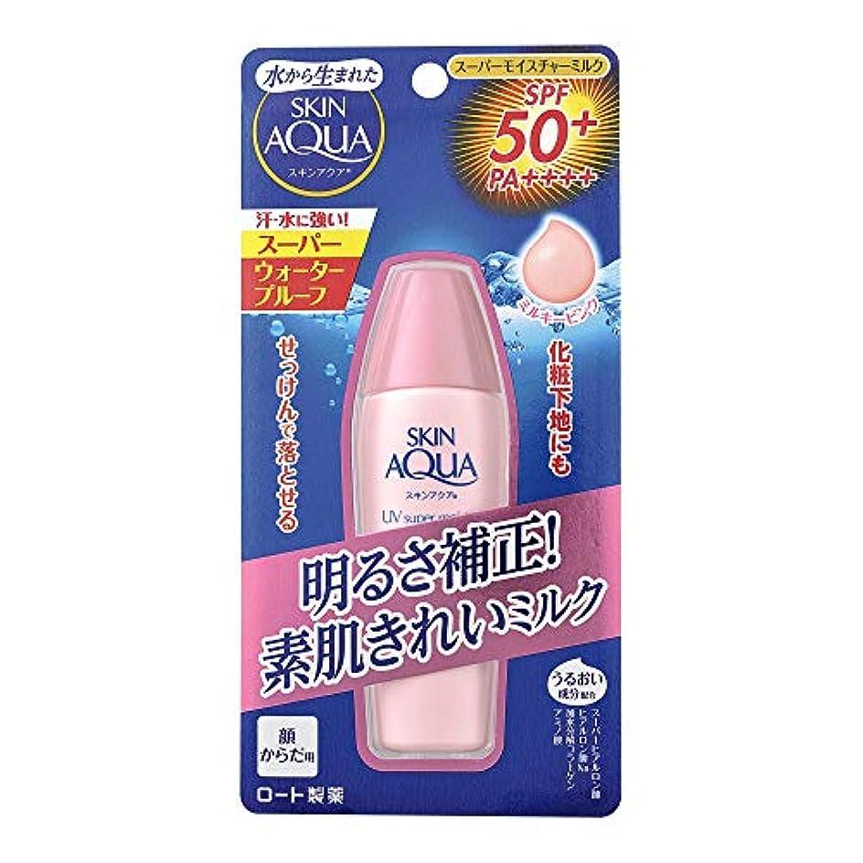 属する店員ゴネリルスキンアクア (SKIN AQUA) 日焼け止め スーパーモイスチャーミルク 潤い成分4種配合 水感ミルク ミルキーピンク (SPF50 PA++++) 40mL ※スーパーウォータープルーフ