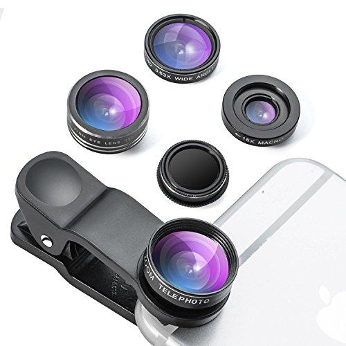 YIEASY 5in1 スマホカメラレンズキット(0.63X広角レンズ 15Xマクロレンズ 198°魚眼レンズ 2X望遠レンズ CPL偏光レンズ) スマホ レンズ 自撮り クリップ式 簡単装着 収納バッグ付き iPhone/Android対応