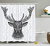 (180cm W By 180cm L, Multi 11) - Deer Shower Curtain Set by Ambesonne, Black and White Aboriginal Floral Polynesian Ethnic Patterns Artsy Boho Design, Fabric Bathroom Decor, with Hooks, White Grey Black