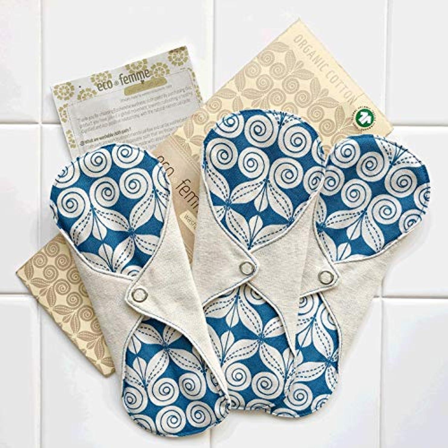 釈義感染する着る軽い日用3枚セット 南インド「Eco Femme」布ナプキン 洗えるオーガニックコットン(肌面無漂白)防水あり?内側に3層のフランネル使用