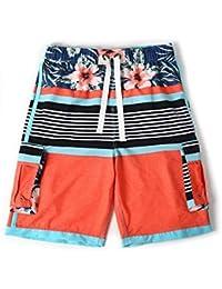 【Palmwave】NEW 水着 海水パンツ サーフパンツ メンズ 大きいサイズ ストレッチ ボーダー風 明るめオレンジ色にハイビスカス柄 HP1805