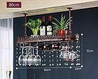 CHRDW ワインラック金属壁掛けワインラックぶら下げカウンターカップホルダーワイングラスゴブレットラック高さ調節可能な30〜60センチ棚用レストラン、バー(クリスタルペンダントを含む) (Color : Brown, Size : 80x25cm)