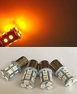 [lighteen] 13連 シングル 24V LED S25 3chip 5050 SMD セット (個数・色 選択可)  アンバー 4個