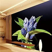 Sproud 大規模なカスタム壁紙紫色の花グリーンリーフバスルーム 250 Cmx 175 Cm のリビングルームベッドルームのテレビの背景の壁紙の防水