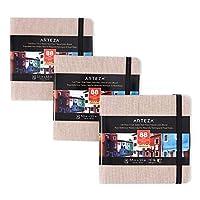 Arteza 水彩スケッチブック 5.5x5.5インチ 3パック 132シート ベージュアートジャーナル ハードカバー110ポンドペーパーブック 水彩スケッチブック トラベルジャーナルとミックスメディアパッド