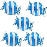 Blesiya 5個 風船 バルーン キャンディー形 ホイルバルーン アルミ風船 パーティー 結婚式 誕生日 お祭り 装飾 飾り 全4色選べる - 青 ストライプ