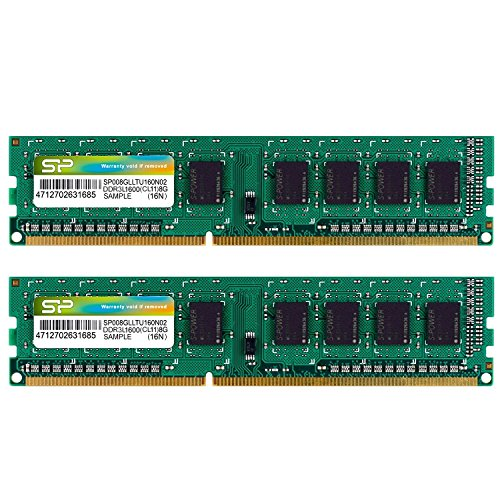 シリコンパワー デスクトップPC用メモリ 1.35V (低電圧) DDR3L-1600 PC3L-12800 8GB×2枚 240Pin Mac 対応 永久保証 SP016GLLTU160N22