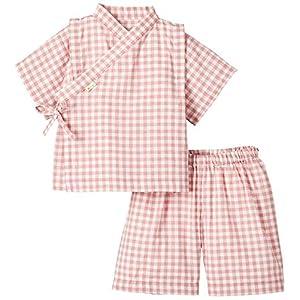 yuga☆甚平 ピンク 100cm オーガニックコットン100% ベビー 服 男の子 女の子 兼用 出産祝い お祭り 浴衣 プレゼント 綿100%
