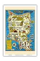 """オアフ島、ハワイ""""MEM-O-マップ"""" - 第二次世界大戦軍事記念碑マップ - ビンテージイラストマップ によって作成された ジョン・G・ドルリー c.1946 - アートポスター - 31cm x 46cm"""