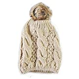 メンズ ニット Knit Style Beige Tammy Hat With Faux Fur Bauble