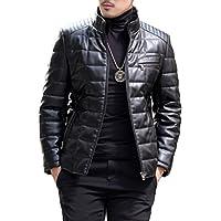 (アイラブコス) iLoveCos レザーダウンジャケット ダウン95% ミンクファー ライダースジャケット スタンドカラー メンズ