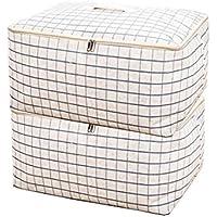 布団収納ケース uniquq 羽毛布団収納袋 布団収納袋 2枚セット 衣類収納 衣替え  防虫 防カビ 天然綿とリネン製 手洗い可(61.50.28) (ブルー, XL+XL)