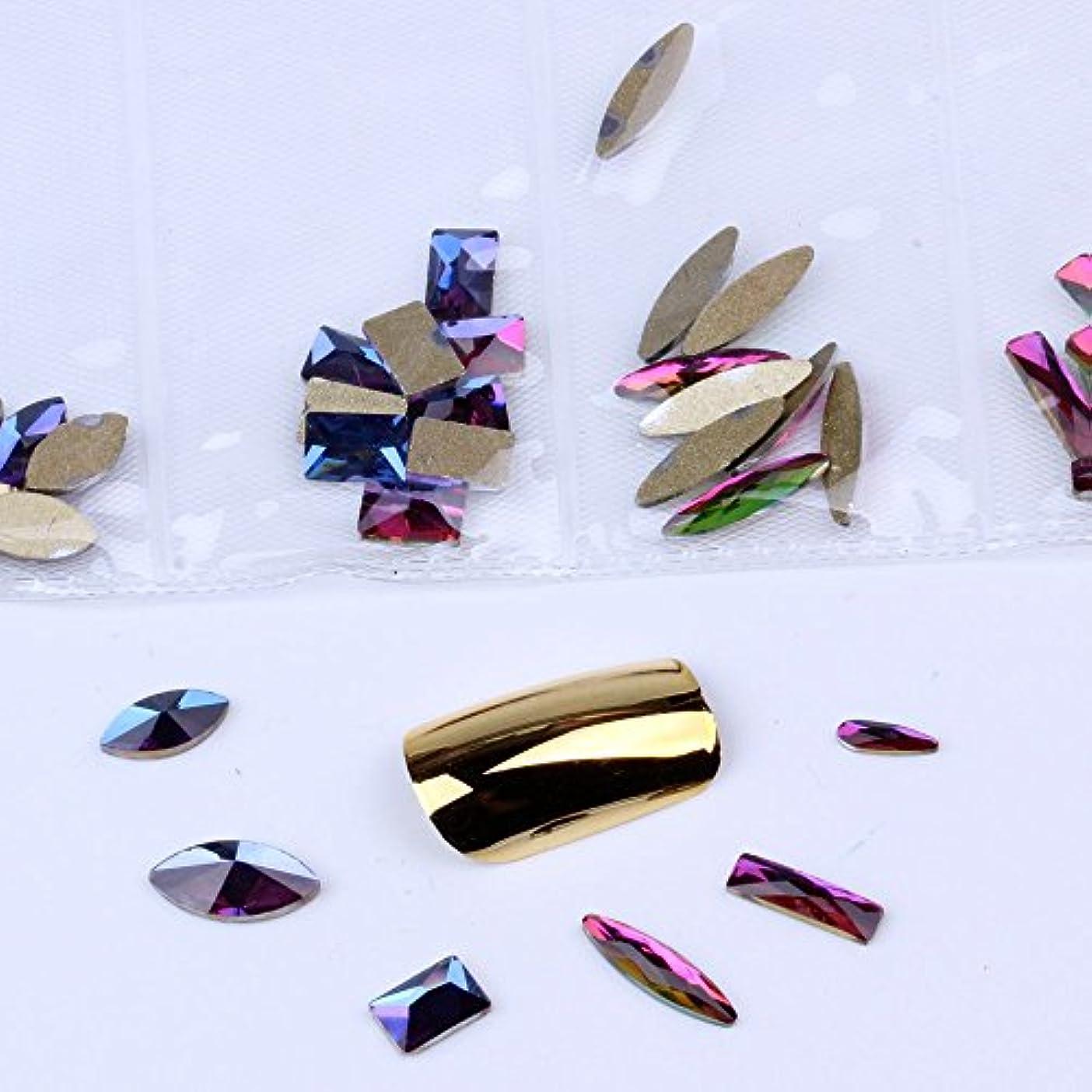 混在6形60pcs / bagガラスネイルアートラインストーンフラットバックネイルステッカーDIYクラフトアート3Dジュエリー衣類装飾宝石
