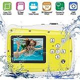 キッズデジタルカメラ、クリエイティブキッズカメラ、8倍デジタルズーム水中カメラHD、12メートルピクセル3メートル防水カメラ付き2.0インチ液晶画面ビデオ玩具ビデオカメラ用水泳, yellow