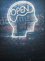 Desung新しいOpen Mind Brain OpenホワイトネオンSign Man Cave Signsスポーツバーパブビールネオンライトランプガラスネオンライトcx66 20 Inches