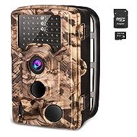 AIMTOMトレイルカメラ 16MP 1080P 防犯カメラ 監視カメラ 暗視カメラ 狩猟モニターカメラ 動き検知 32GBSD付き 25M検知距離 120°検知範囲 赤外線LEDライト搭載 IP56防水防塵 家庭 屋外 車庫 野生動物調査用