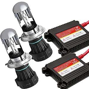 XZONE HIDキット 55W H4 Hi/Lo リレーレス 6000K 極輝型バルブ 交流式 極薄安定型 快速点灯 ヘッドライト/フォグランプ対応 3年保証