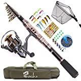 Croch Spinning Rod and Reel Combos Portable Carbon Telescopic Fishing Rod and Reel Set for Saltwater Or Freshwater Bass