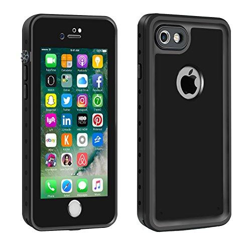 Eonfine-正規品 iPhone 7 用 防水ケース 100%防水 クリアな音質 アイフォン7ケース 防水 防塵 耐衝撃 完全防水 防雪 耐震 落下防止 IPx68 指紋認証対応 個性的 7カバー ブラック