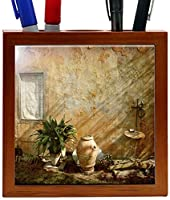 Rikki Knight RK-PH2025 Country Garden Tuscany with Plant Design 5-Inch Wooden Tile Pen Holder (RK-PH2025) [並行輸入品]