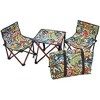 キャプテンスタッグ(CAPTAIN STAG) キャンプ用品 椅子 チェア 机 テーブル マーベル コンパクト テーブル チェア セット コミック 収納袋付き MA-1062